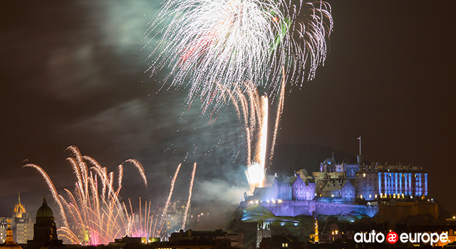 Edinburgh Hogmanay Fireworks Celebrations for New Year